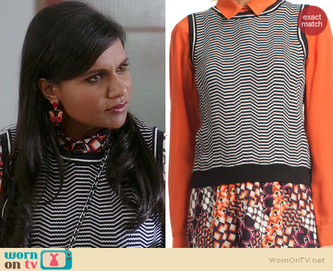 Trina Turk Lexie Sweater Vest worn by Mindy Kaling on The Mindy Project