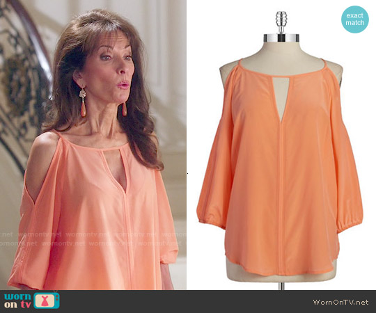 Trina Turk Silk Cold Shoulder Top worn by Susan Lucci on Devious Maids