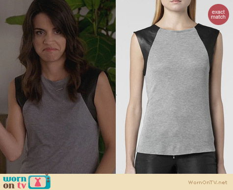 Trophy Wife Fashion: All Saints Alienor Tank worn by Natalie Morales