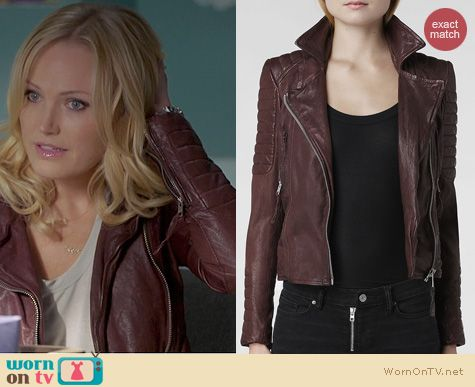 Trophy Wife Fashion: All Saints Oxblood Leather Jacket worn by Malin Akerman