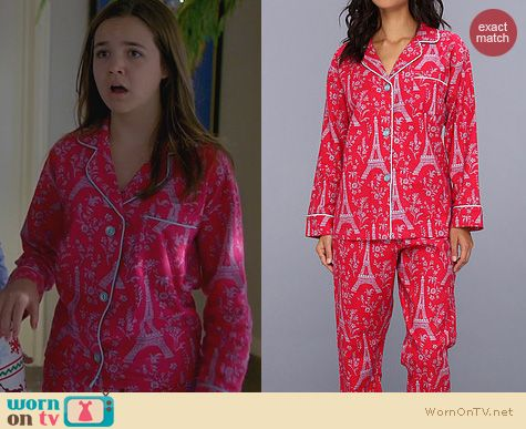 Fashion of Trophy Wife: Bedhead Classic Flannel PJ Set in Rouge Eiffel Tower worn by Bailee Madison