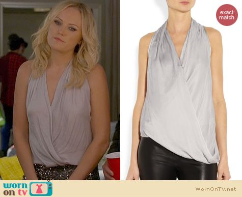 Trophy Wife Fashion: Helmut Lang Glassy Draped Top worn by Malin Akerman
