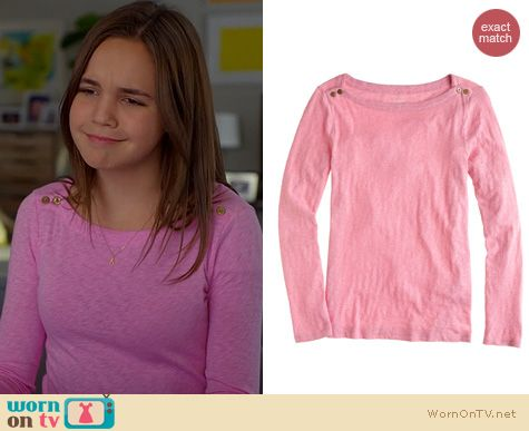 Trophy Wife Fashion: J. Crew Painter Boatneck Tee worn by Bailee Madison