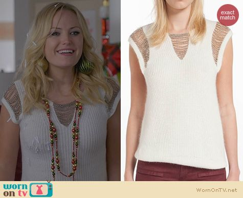 Trophy Wife Fashion: Maje Demoisell Chain Detail Sweater worn by Malin Akerman