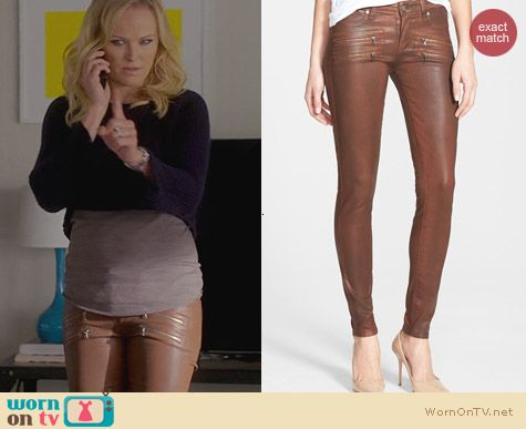Trophy Wife Fashion: PAIGE Edgemont Brown Leather Zip Jeans worn by Malin Akerman