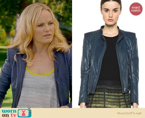 Trophy Wife Fashion: Theyskens Theory Janner Teal Jacket worn by Malin Akerman