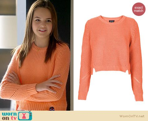 Trophy Wife Fashion: Topshop Knitted Rib Crop Jumper worn by Bailee Madison