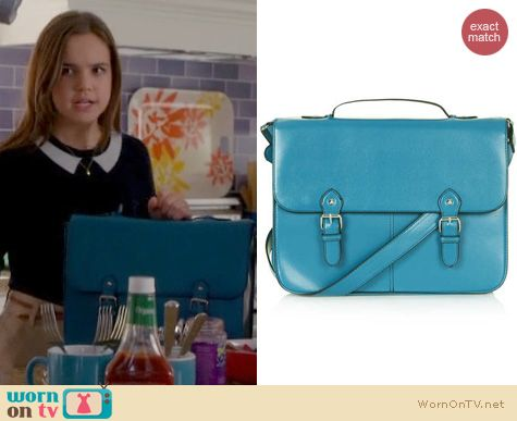 Trophy Wife Style: Topshop Large Edge Paint Satchel in blue worn by Bailee Madison
