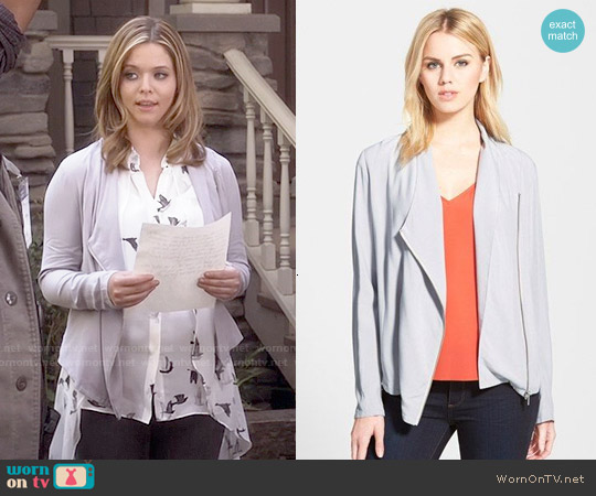 Trouve Draped Moto Jacket in Grey Sconce worn by Alison DiLaurentis on PLL