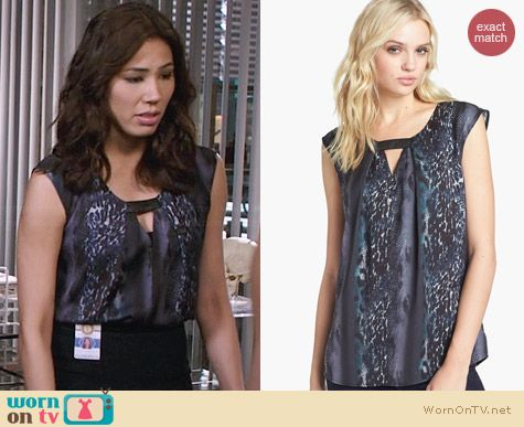 Trouve Front Keyhole Top in Spliced Leopard Print worn by Michaela Conlin on Bones