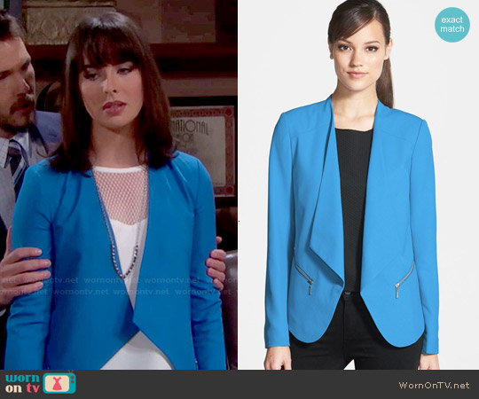 Trouve Open Front Zip Pocket Blazer in Blue French worn by Ashleigh Brewer on The Bold & the Beautiful