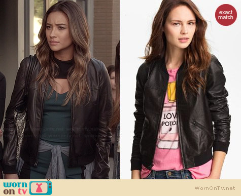Trouve Perforated Leather Bomber Jacket worn by Shay Mitchell on PLL
