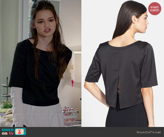 Trouve Split Back Crop Top worn by Ciara Bravo on Red Band Society