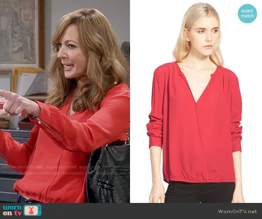 Trouve Surplice Zip Cuff Blouse in Red Beauty worn by Allison Janney on Mom