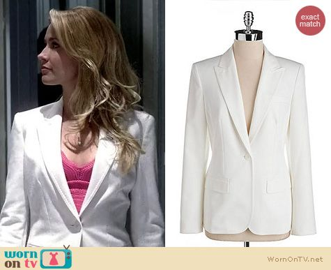 True Blood Fashion: Anne Klein White Single Button Blazer worn by Anna Camp