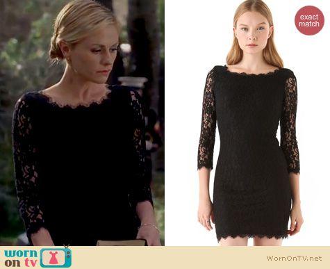 True Blood Fashion: Diane von Furstenberg Zarita dress in black worn by Anna Paquin