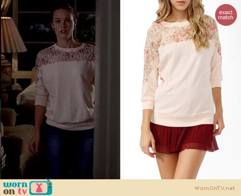 True Blood Fashion: Forever 21 Rose Lace French Terry Top worn by Bailey Noble