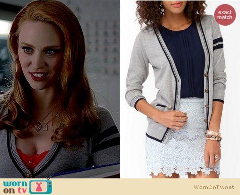 True Blood Fashion: Forever 21 Elbow patch varsity cardigan worn by Deborah Ann Woll