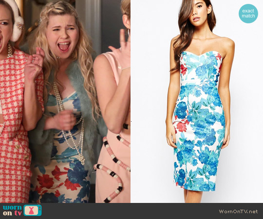True Violet Midi Dress With Sweetheart Neck In All Over Floral Print worn by Abigail Breslin on Scream Queens