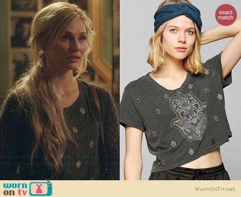 Truly Madly Deeply Embellished Hamsa Crop Tee worn by Clare Bowen on Nashville