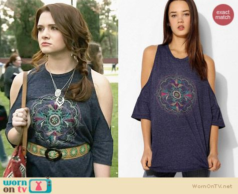 Truly Madly Deeply Mandala Cold Shoulder Tee worn by Katie Stevens on Faking It