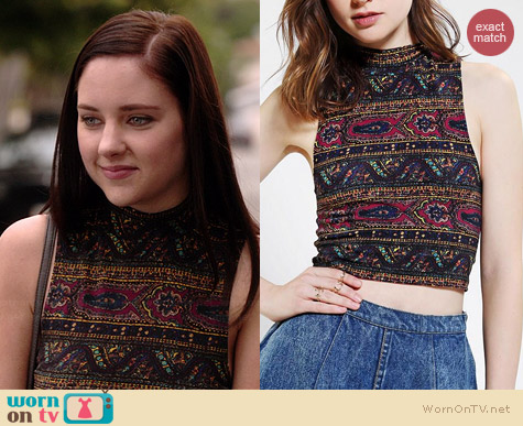 Truly Madly Deeply Printed Mock Neck Cropped Top worn by Haley Ramm on Chasing Life