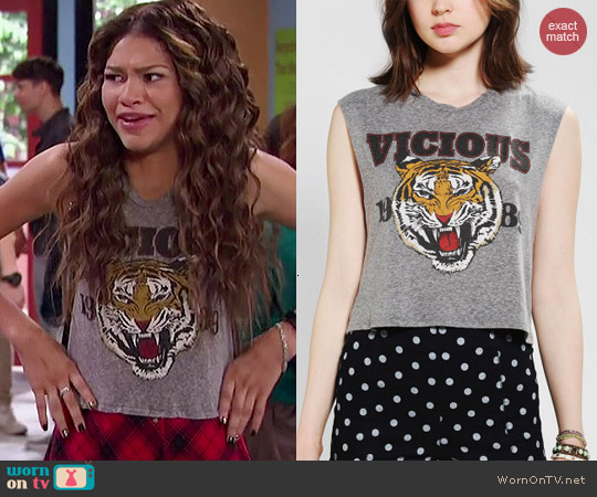 Truly Madly Deeply Vicious Tiger Cropped Muscle Tee worn by Zendaya on KC Undercover