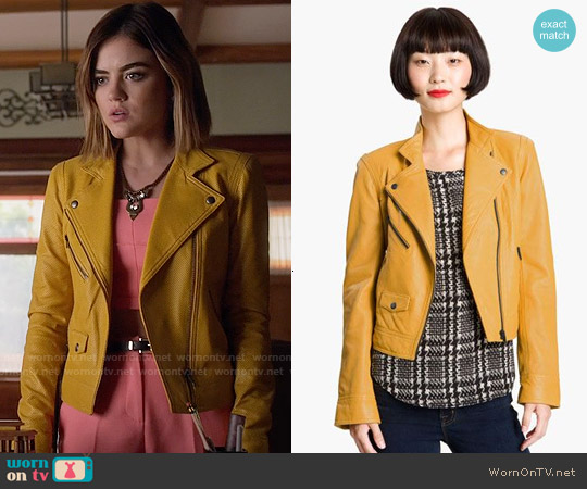 Truth & Pride Perforated Leather Biker Jacket worn by Lucy Hale on PLL