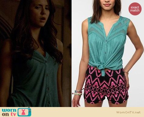 TVD Fashion: Urban Outfitters Ecote Layers of Lace Top worn by Nina Dobrev