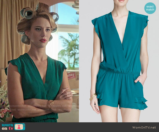 Twelfth Street by Cynthia Vincent Ruffle Flutter Romper worn by Yael Grobglas on Jane the Virgin