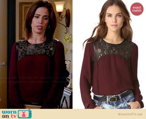 Twelfth Street by Cynthia Vincent Leather Yoke Blouse worn by Ana Ortiz on Devious Maids