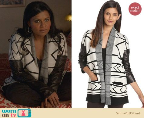 Twelfth Street by Cynthia Vincent Log Cabin Sweater worn by Mindy Kaling on The Mindy Project