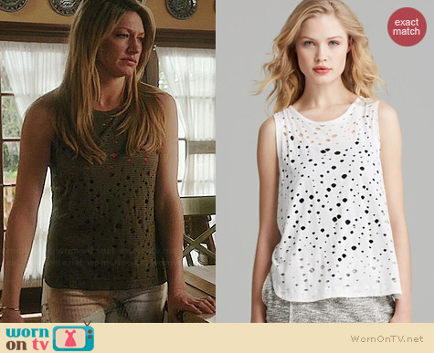 Twenty Tees Rippled Perforated Muscle Tee worn by Jess Macallan on Mistresses
