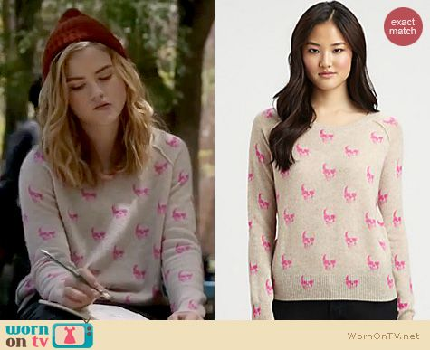 Twisted Fashion: 360 Sweater Skull print sweater in pink worn by Maddie Hasson