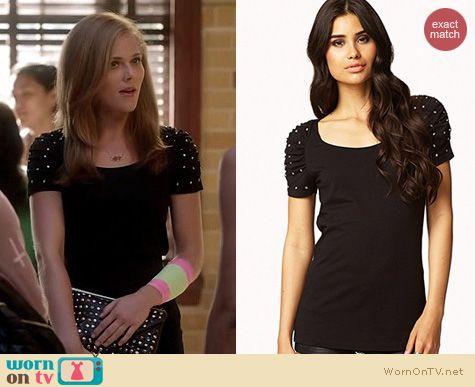 Twisted Fashion: Forever 21 Black Rhinestone Ruched sleeve top worn by Karynn Moore