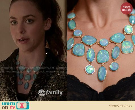 Twisted Fashion: H&M Iridescent Turquoise Gems Bib Statement Necklac worn by Brittany Curran