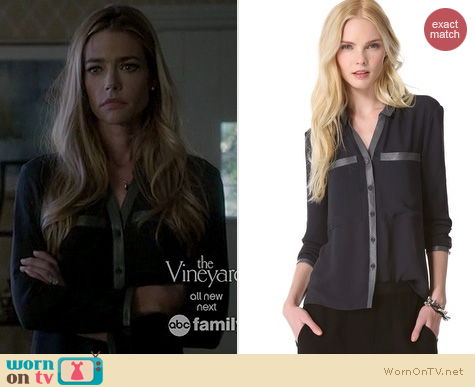 Twisted Fashion: Helmut Lang Soft Shroud Button Blouse worn by Denise Richards