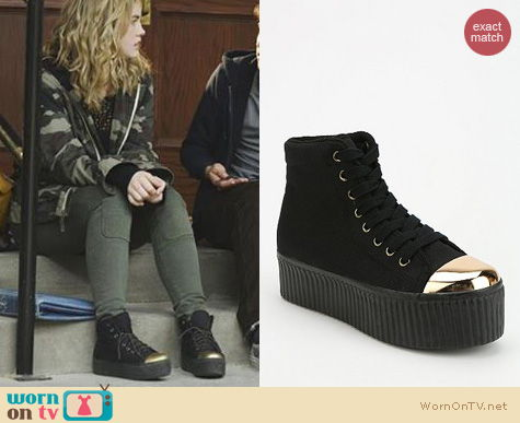 Twisted Fashion: Jeffrey Campbell Hiya Capped flatform sneakers worn by Maddie Hasson