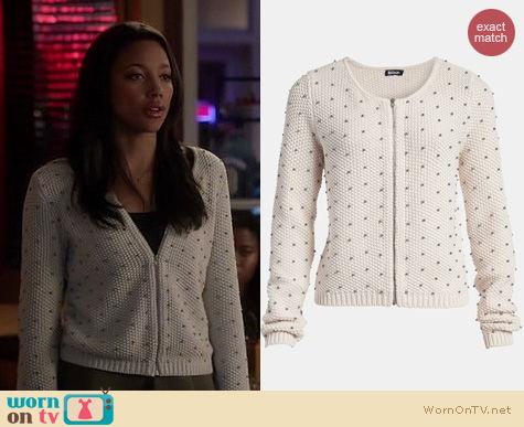 Twisted Fashion: Tildon Beaded Bomber Sweater worn by Kylie Bunbury