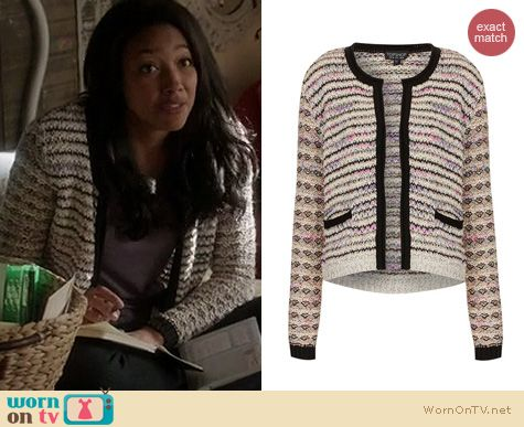 Twisted Fashion: Topshop Multicolor knitted mixed yarn sweater worn by Kylie Bunbury