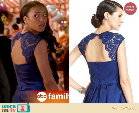 Twisted Fashion: Xscape blue lace cap sleeve ruched gown worn by Kylie Bunbury