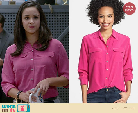 Two by Vince Camuto Silk Utility Blouse in Fuchsia worn by Melissa Fumero on Brooklyn 99