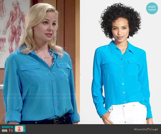 Two by Vince Camuto Silk Utility Blouse worn by Jessica Collins on The Young & the Restless