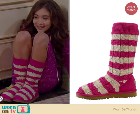 Ugg Cable Knit Striped Boots in Pink worn by Rowan Blanchard on Girl Meets World