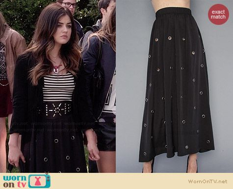Unif Grommet Skirt worn by Lucy Hale on PLL
