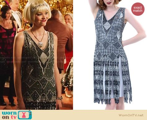 Unique Vintage Gunite 1920s Stevie Reproduction Flapper Dress worn by Jaime King on Hart of DIxie