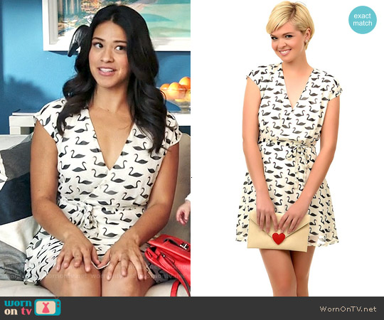 Unique Vintage Swan Print Guomi Flare Dress worn by Gina Rodriguez on Jane the Virgin