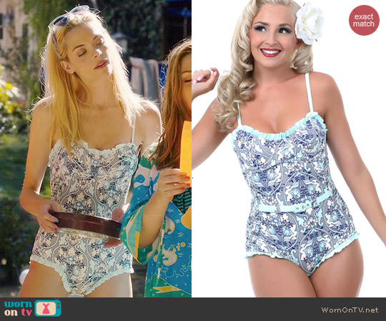Unique Vintage Blue & Grey Floral Belted Swimsuit worn by Jaime King on Hart of Dixie