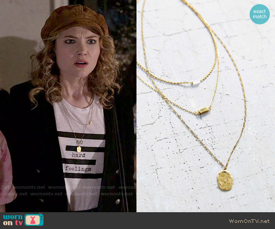Urban Outfitters For Keeps Crystal Layering Necklace worn by Skyler Samuels on Scream Queens