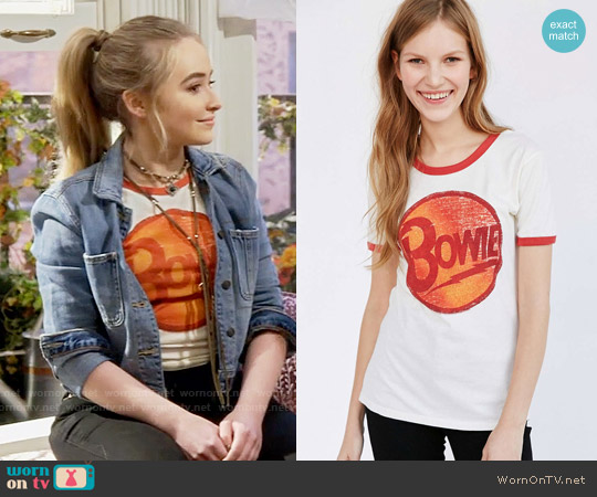 Urban Outfitters Music Series Ringer Tee in Bowie worn by Sabrina Carpenter on Girl Meets World